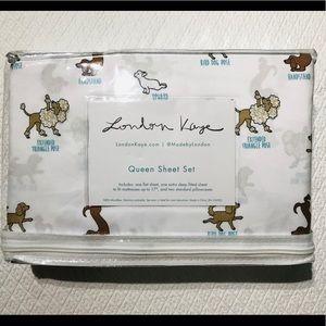 Yoga Dog Poses QUEEN Sheet Set by London Kaye